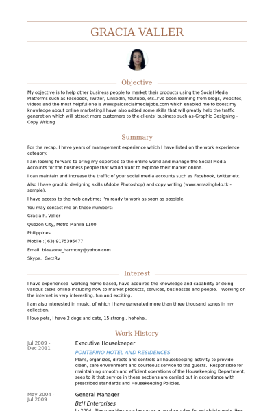 Resume Examples Housekeeping