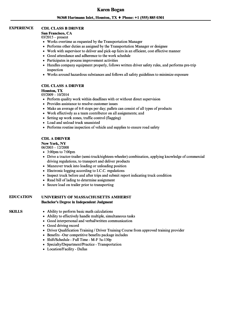 Cdl Class B Resume Examples — Scheduled