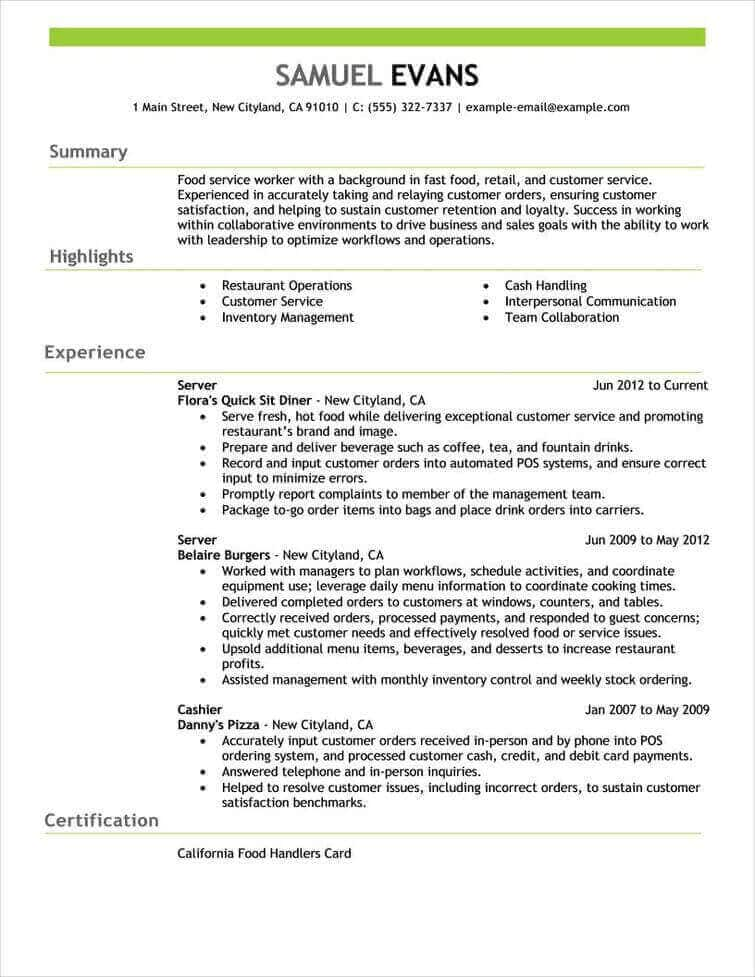 Resume Templates Job Specific