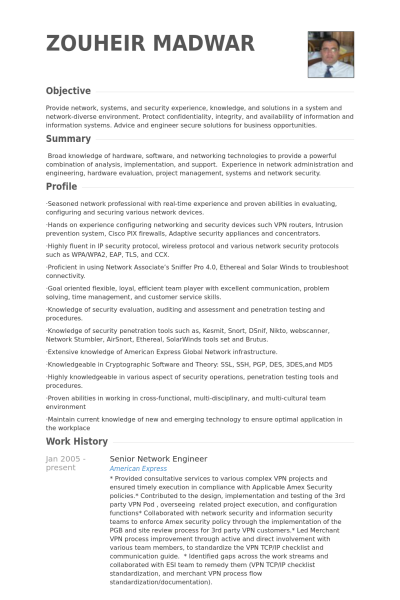 Resume Examples Network Engineer