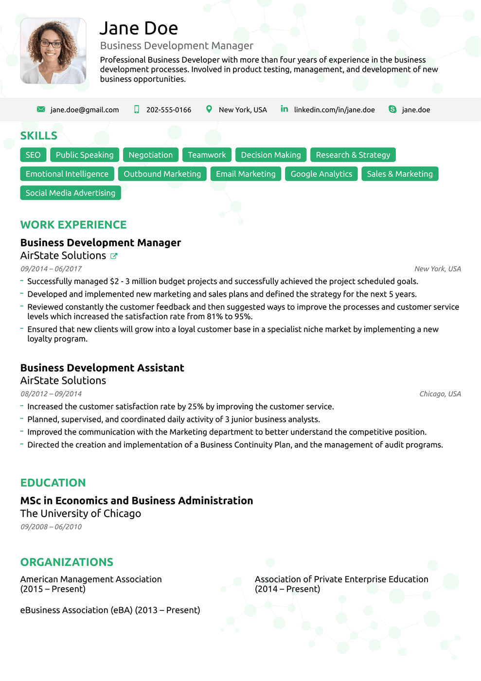 Resume Examples 2018 Usa