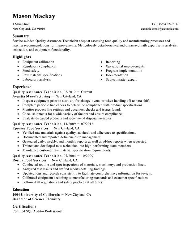 Resume Examples Quality Inspector