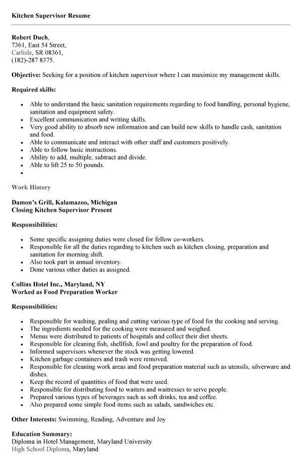 Resume Examples Kitchen Hand Resume Templates