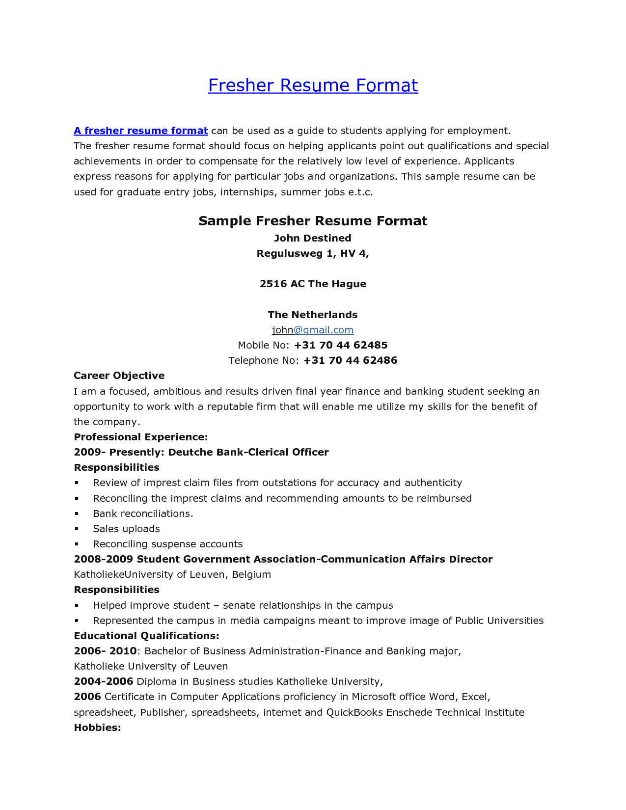 Resume Examples 18 Year Old