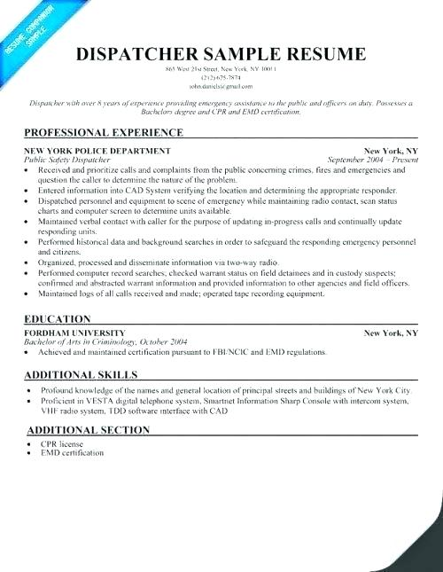 Resume Examples 911 Dispatcher
