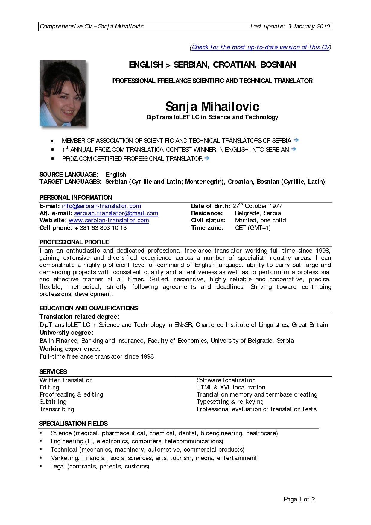 Resume Format Experience