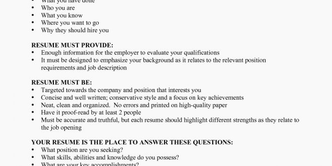 Resume Format Requirements