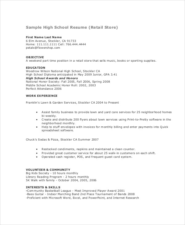Resume Templates Teenager
