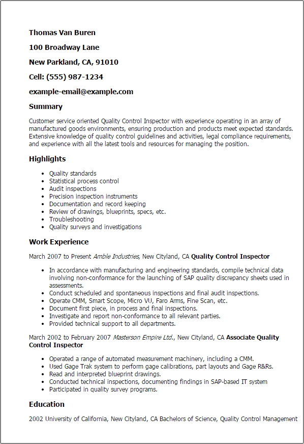 Resume Templates For Quality Control