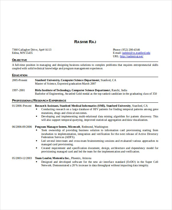 Resume Format For 6 Months Experienced Software Engineer