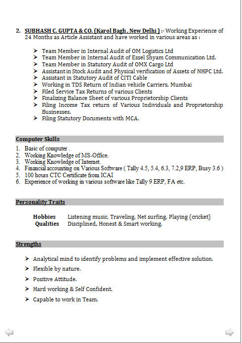 Resume Format For Tally Erp 9