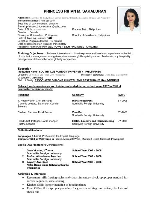 Resume Format Template