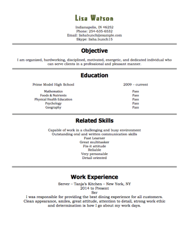 Resume Templates 15 Year Olds