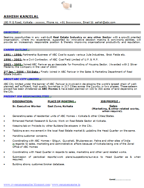 Resume Format For Bsc Zoology