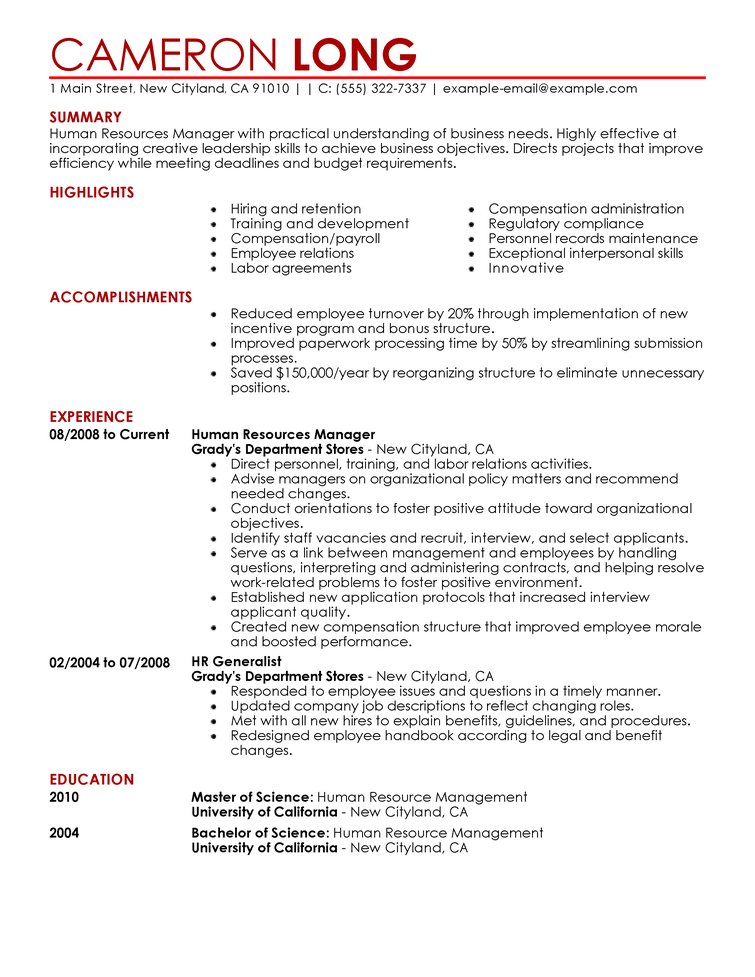 Resume Templates Marketing