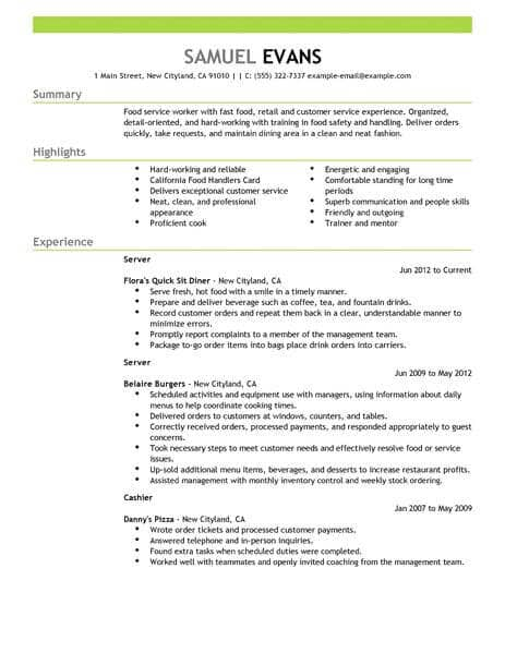 Select Resume Examples For Servers