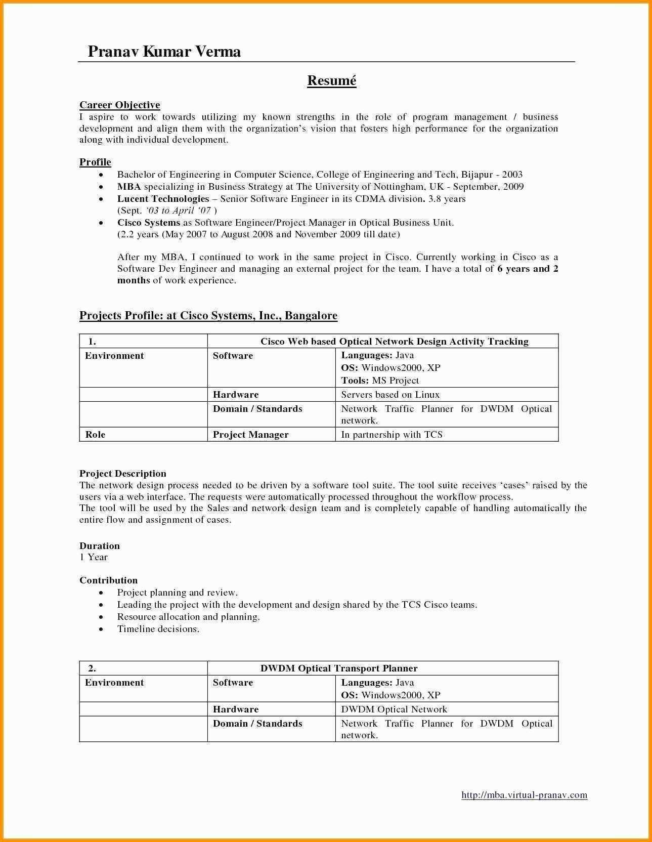 Resume Format For 6 Months Experience In Java Resume Templates
