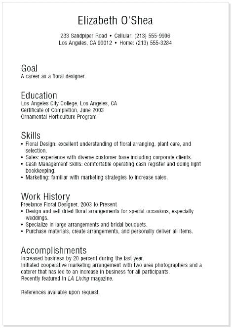 A Teenage Resume Examples