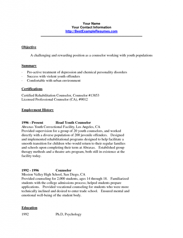 Resume Templates Youth