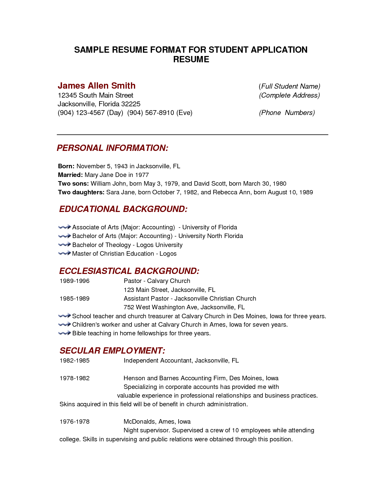 Example Of Resume Format For Student