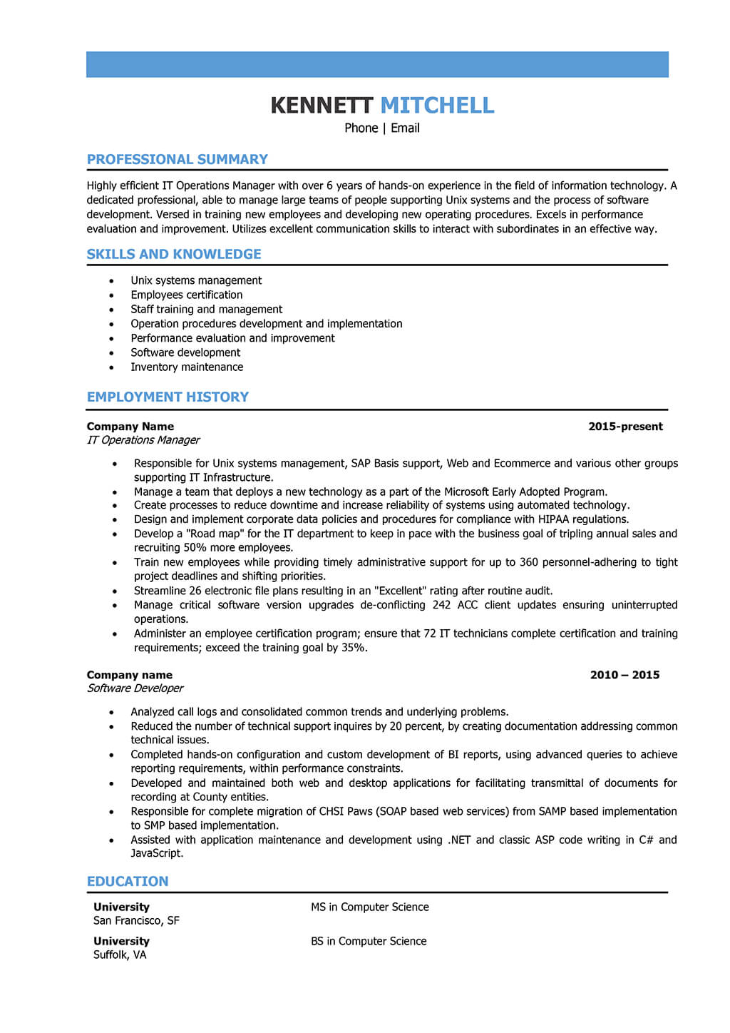 Resume Examples It Manager