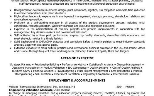 Resume Format Quality Control Manager