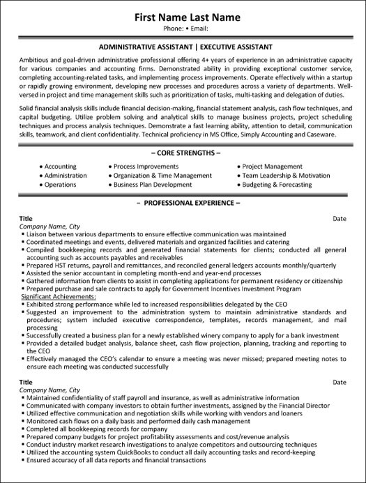 Resume Examples Administrative