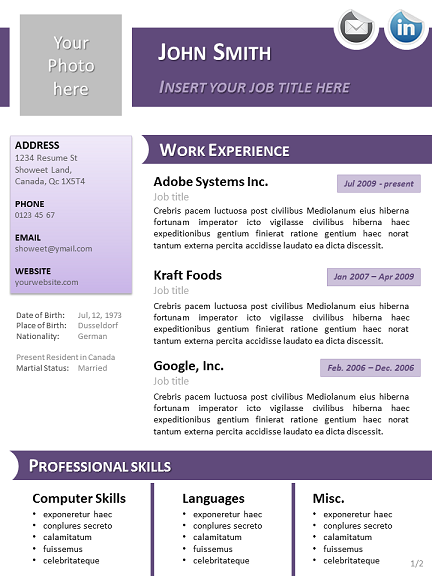 Resume Templates Libreoffice