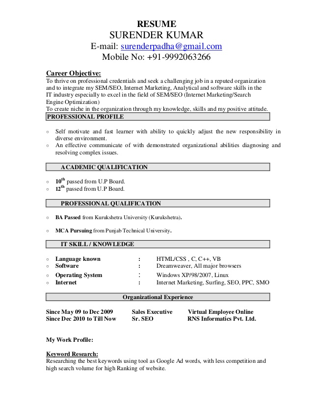 Resume Format For 7 Months Experience