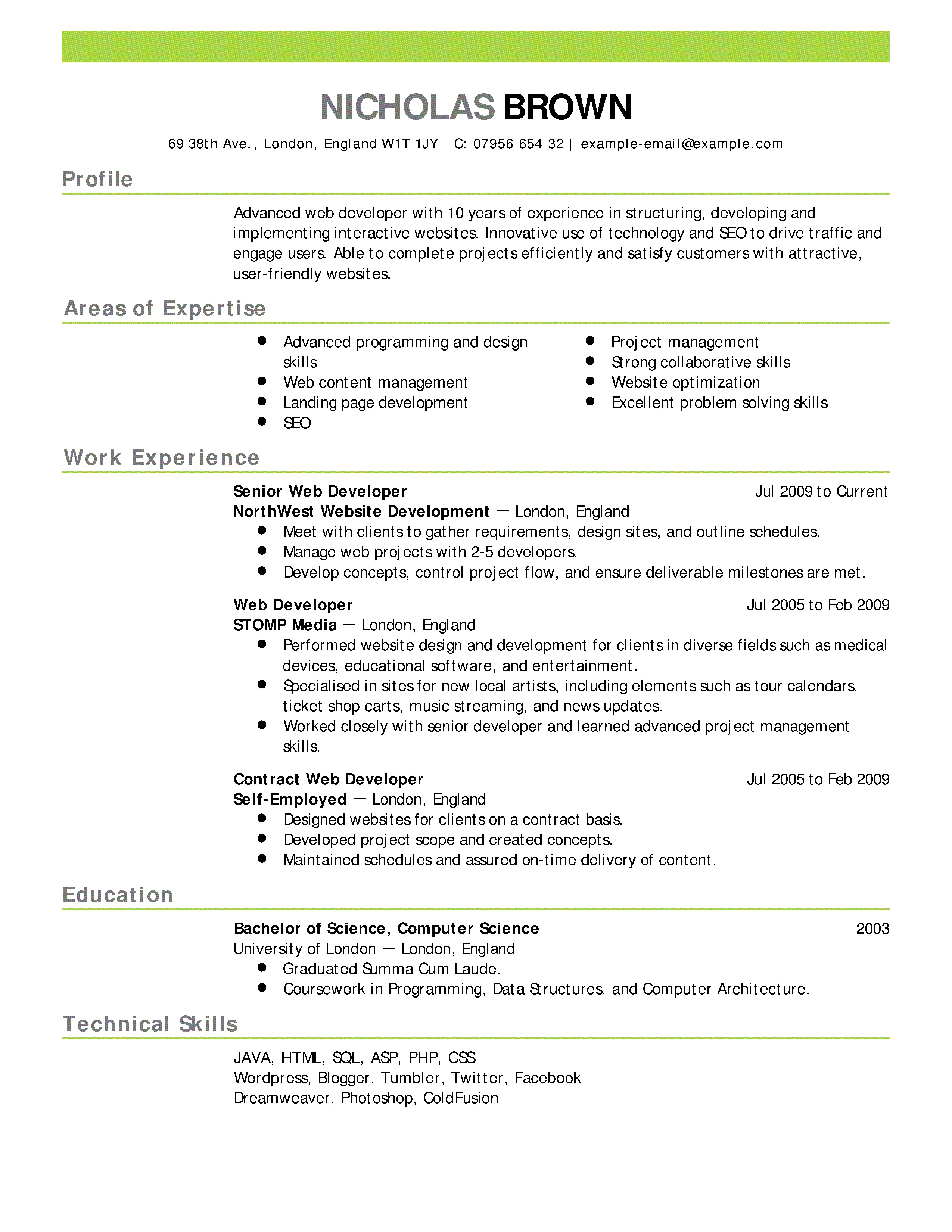 Resume Format Example