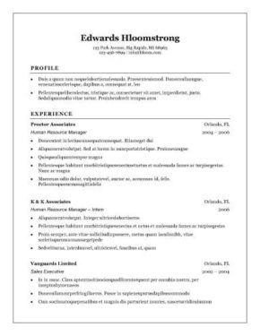 Resume Format Layout