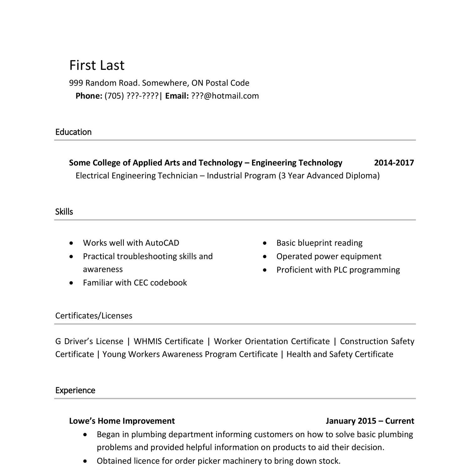 Resume Templates Reddit