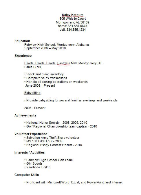 Resume Format For High School Students