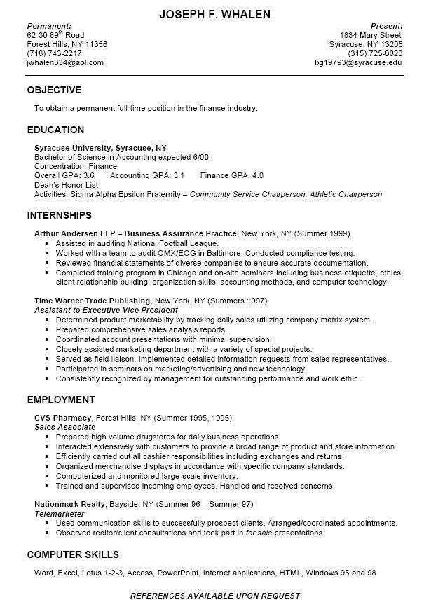 Resume Templates For College Students
