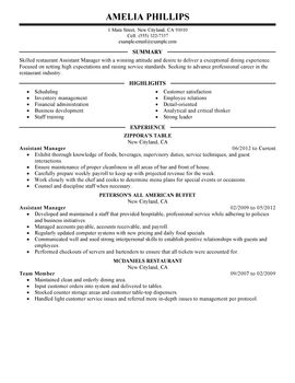 Resume Templates Restaurant