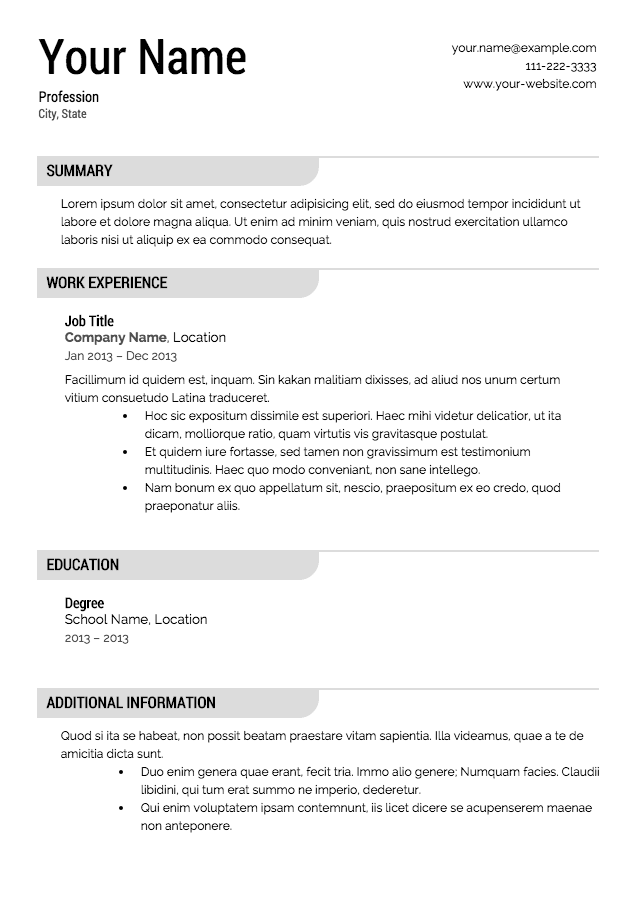 Resume Templates Images