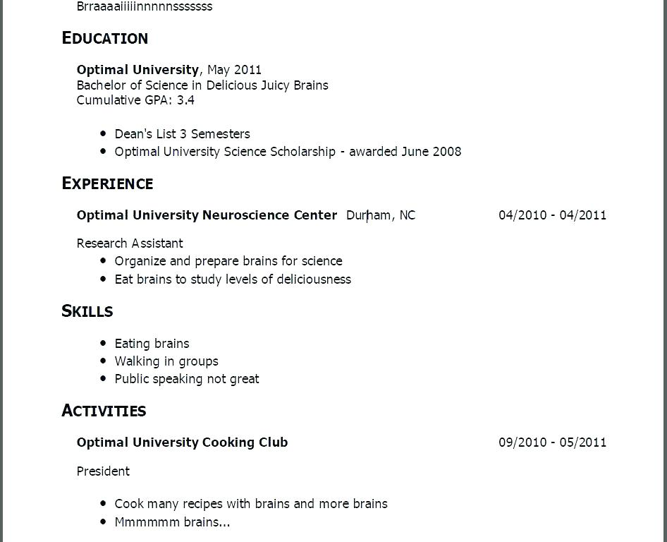 Resume Examples With No Job Experience