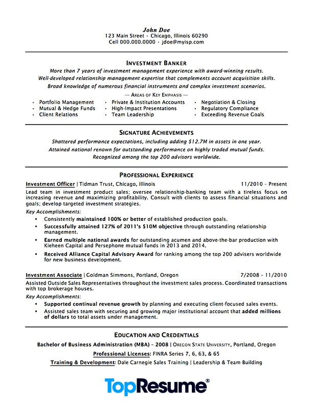 Resume Examples With Series 7