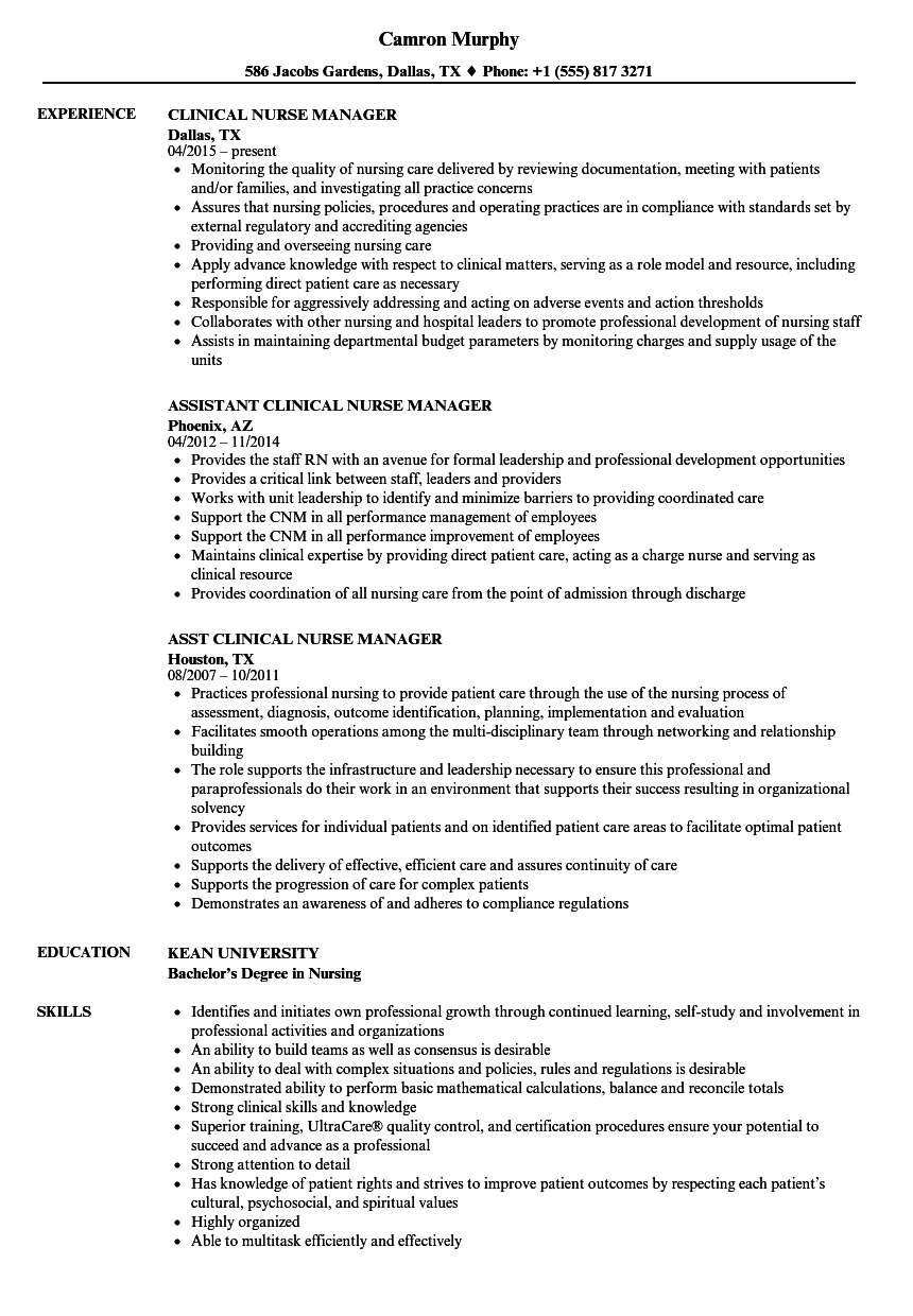 Resume Examples Nurse Manager
