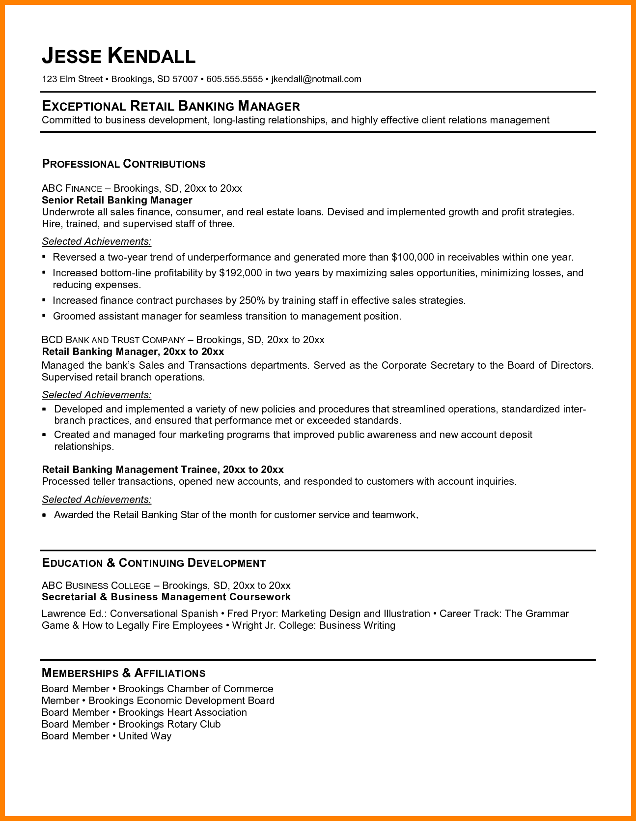 a resume title examples