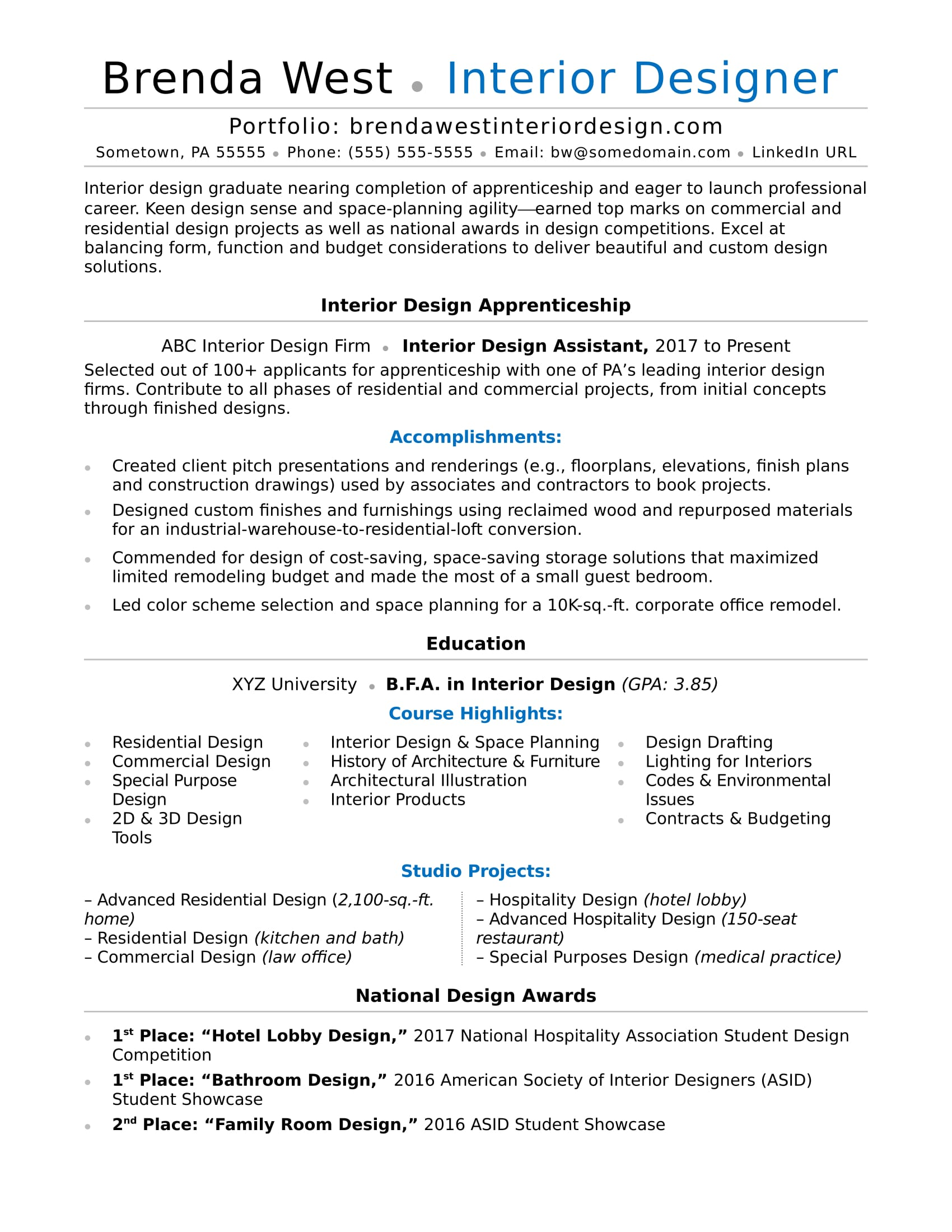 Resume Examples Interior Design