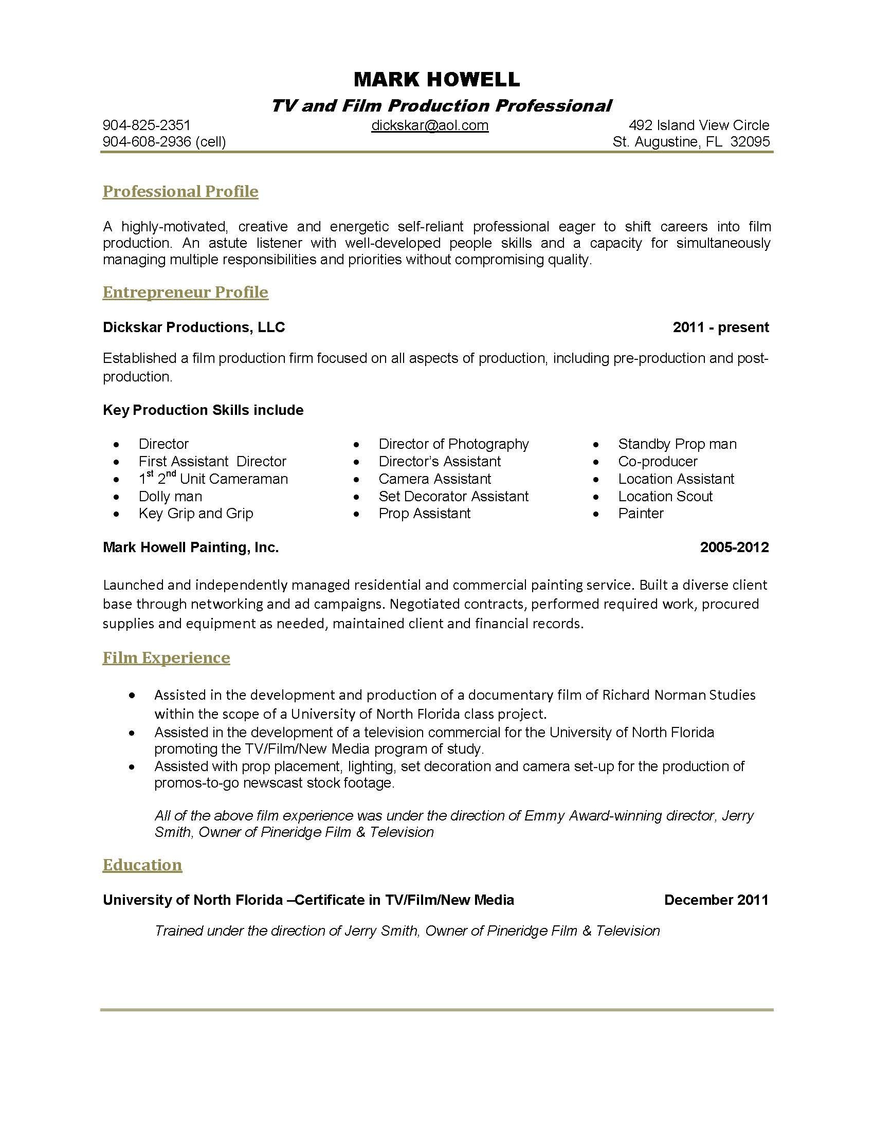 Resume Examples 1 Page