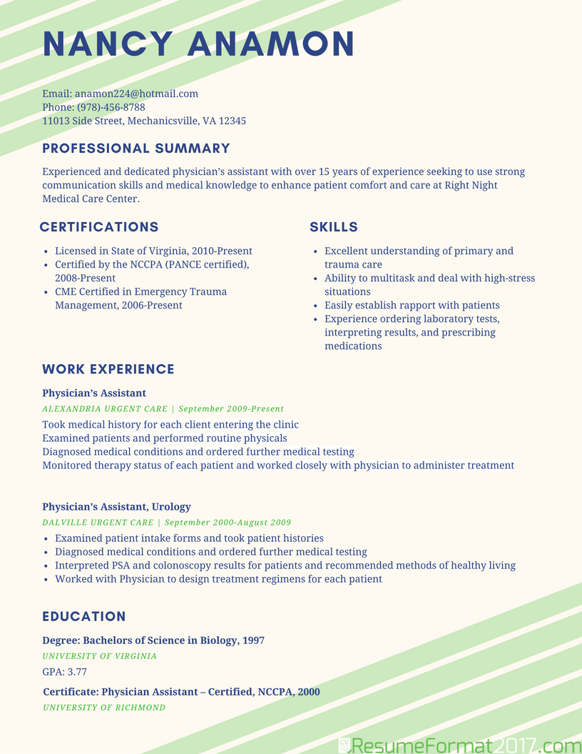Resume Format 2017 Examples
