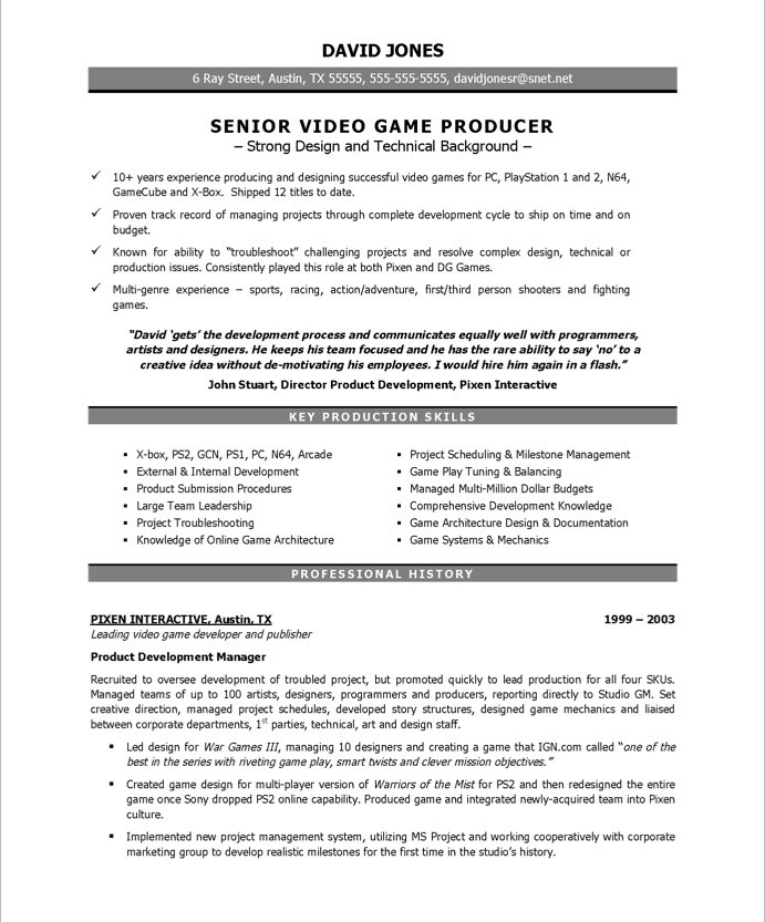 Resume Examples Video Production